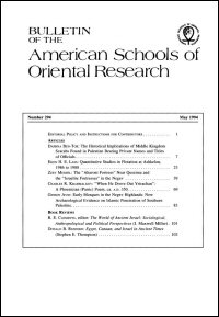Bulletin of the American Schools of Oriental Research, Number 294 (May 1994)