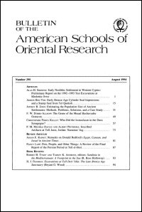 Bulletin of the American Schools of Oriental Research, Number 295 (August 1994)