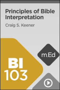 BI103 Principles of Bible Interpretation