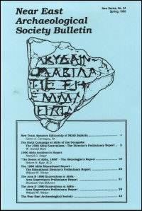 The Near East Archaeological Society Bulletin: New Series, No. 34, Spring 1990