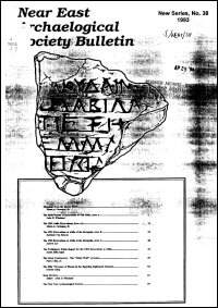 The Near East Archaeological Society Bulletin: New Series, No. 38, 1993