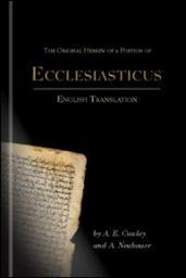 The Original Hebrew of a Portion of Ecclesiasticus: Translation