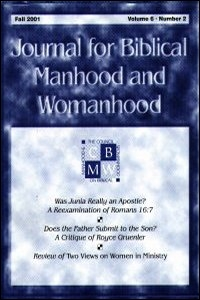 Journal for Biblical Manhood and Womanhood Volume 1
