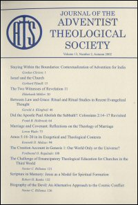 Journal of the Adventist Theological Society, Volume 13, Number 2, Autumn 2002